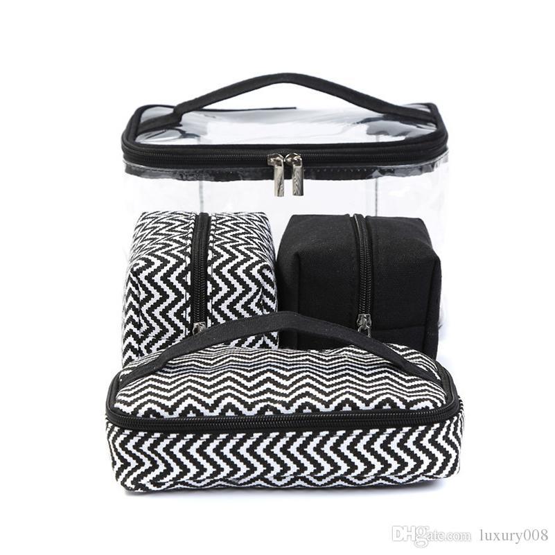 Multifunktionskosmetiktasche Transparentes PVC Tragbare Kombinierte Waschbeutel Reisetasche Erhalten Sie Segeltuchtasche