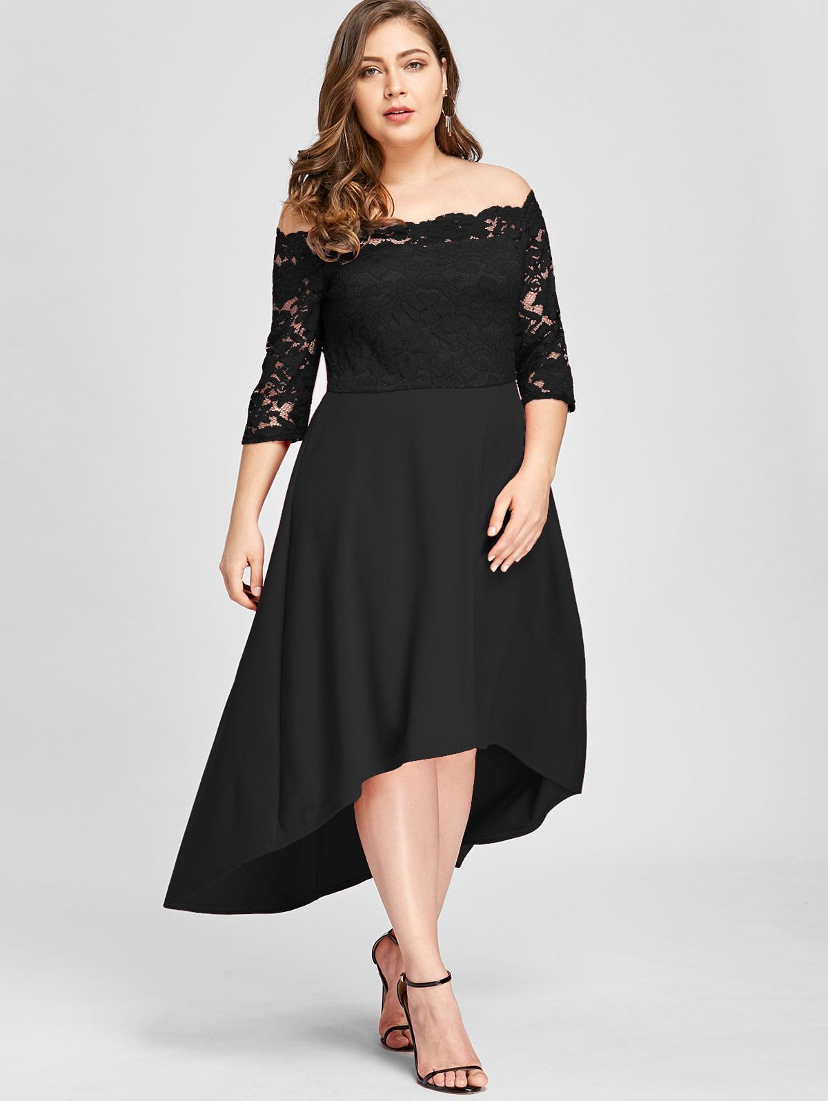 Gamiss Women Party Dress Plus Size Off Shoulder Dip Hem Lace 34 Length Sleeves Dress Asymmetrical Elegant Vestidos Big Size 5xl Dressess Woman Dress