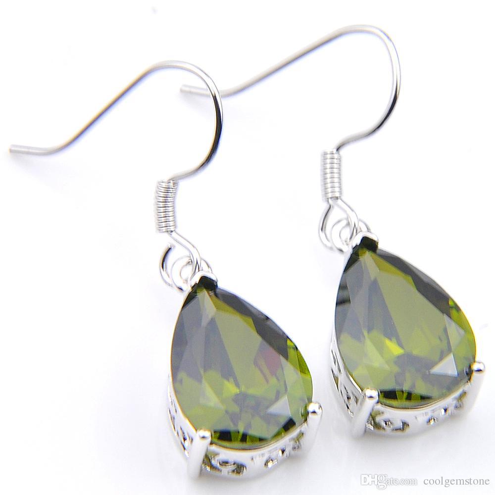 LuckyShine 6 Pair Holiday gift Jewelry ,Green Peridot Water Drop Dangle Earring Silver Hook Earring Women Zircon -Free shipping