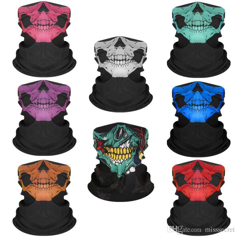 Cadılar bayramı Maskesi Festivali İskelet Kafatası Maskeleri Açık Motosiklet Bisiklet Çok fonksiyonlu Boyun Isıtıcı Hayalet Yarım Yüz Maskesi Eşarp