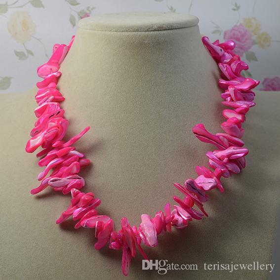 Art- und Weisedame-Hochzeitsfest-Schmucksachen der rosafarbenen Farben-barocken natürlichen Shell-Halsketten-Dame, Frauen-Geschenk-Halskette neues freies Verschiffen
