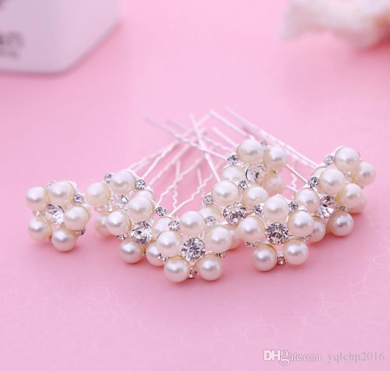 Bridal pearl hairpin, bride pearl hair ornament, white wedding dress, accessories, handmade headwear.
