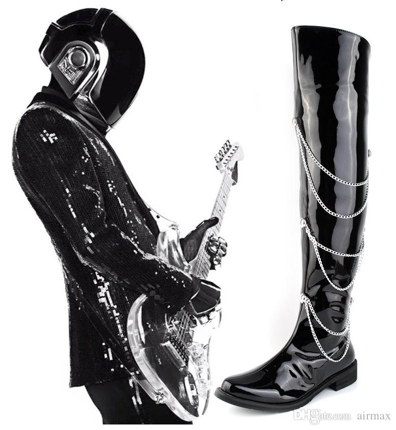 Fashion Forward Black Motorcycle Boots Men Patent Leather Over The Knee 66cm Pole Dancing Boot Men Chains Charm Zip Hombre Chaussure 38-44