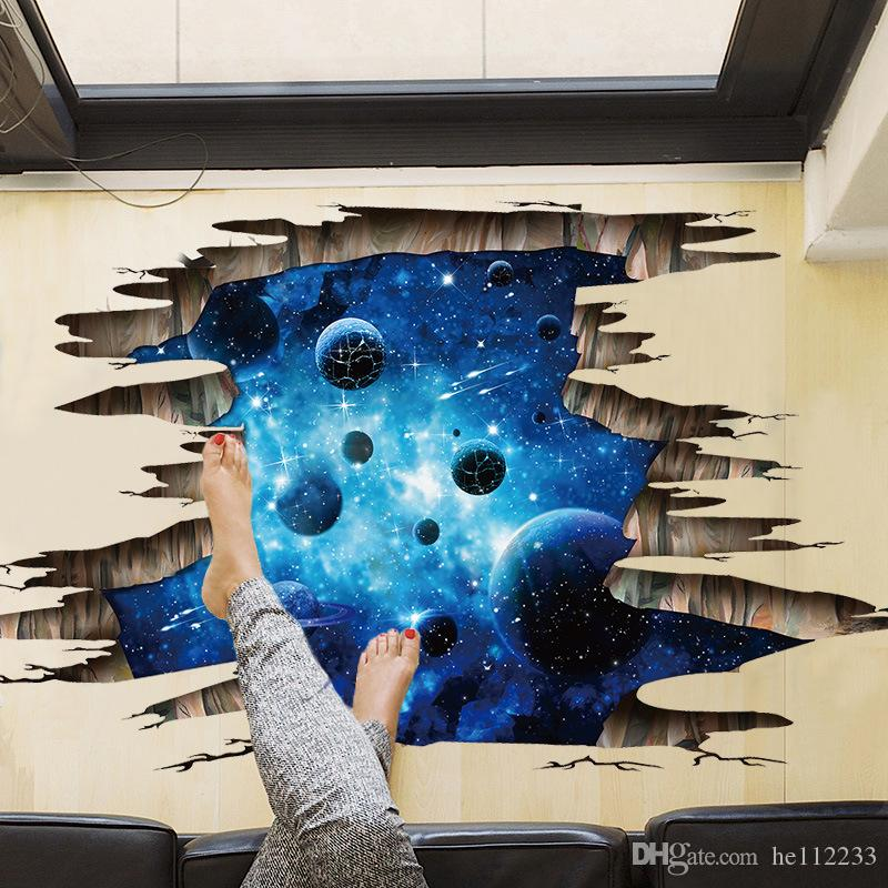 Brand New 3D Stickers Deep Blue Galaxy Wall Stickers Wallpapers Waterproof PVC Murals Can Be Removable Bedroom Sitting Room Decoration