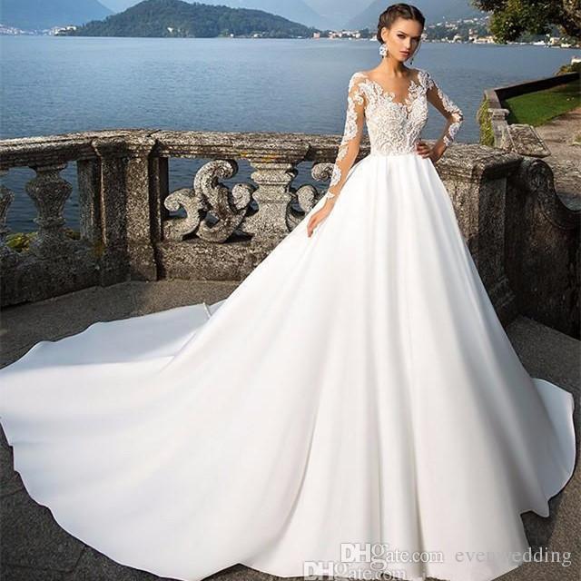 국자 목 레이스 새틴 웨딩 드레스 레이스 Appiques 2018 긴 소매 웨딩 드레스 코트 기차 흰색 웨딩 드레스