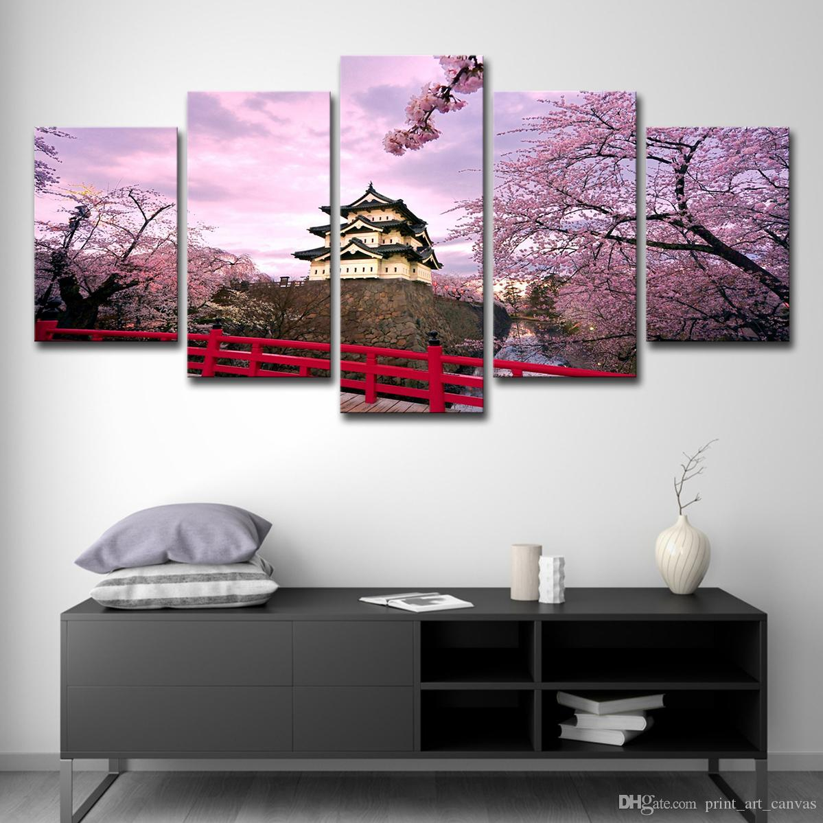 Canvas Wall Art Modular Pictures HD Printed Poster 5 Pieces Home Decor Cherry Blossoms Castle And House Paintings