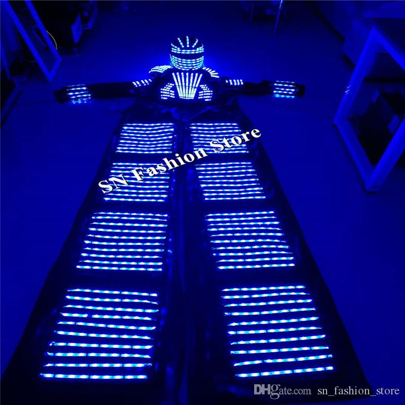 HH811 Colorful LED light robot luminous suit nightclubs party event supply dj disco ballroom dance costumes clothes helmet performance disco