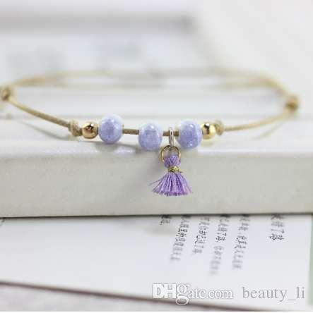 Nuovo Boho perline cavigliera per le donne Moda nappa pendent cavigliera in cotone a mano catena piede gioielli regalo all'ingrosso
