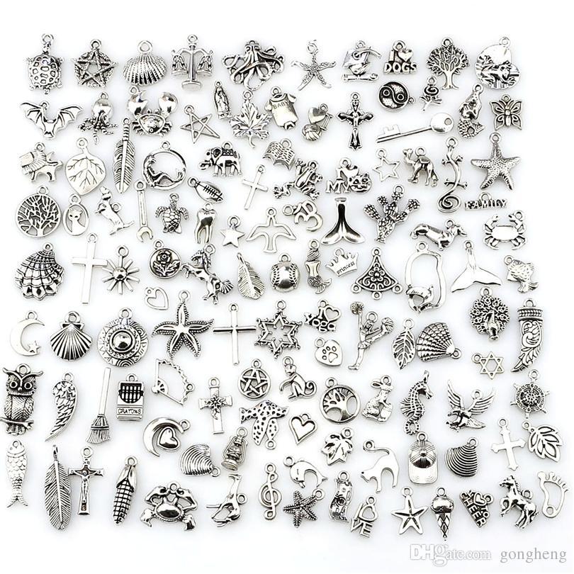 Mix Charms 120pcs Vintage argento antico Mini vita lega ciondolo gioielli fai da te