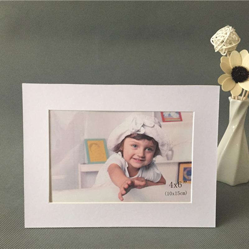 Beyaz Konik Cut Asit Ücretsiz Karton Fotoğraf Çerçevesi ile 4x6 Resimler Düğün Dekorasyon Picture Frame 2 Fotolijst standlar