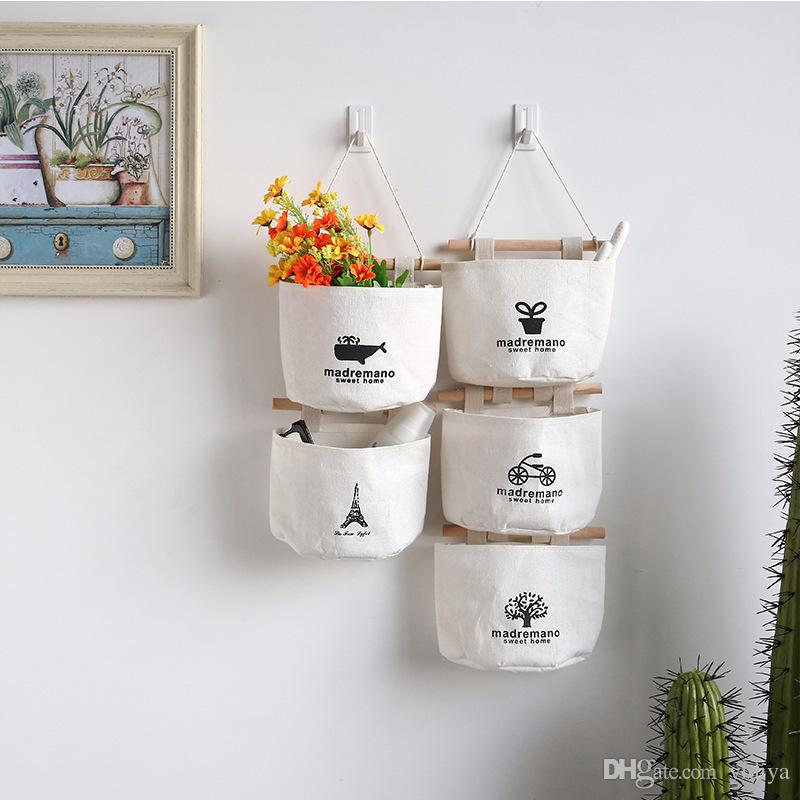 New Creative 4Pcs/Set Linen Cotton Fabric Wall Hanging Storage Bags Case Pockets Home Organizer Living Room Kitchen Bathrom