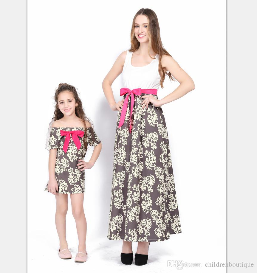 Mommy And Me Dresses Family Matching Clothes Mother And Daughter Dresses Family Matching Clothes Kids Parent With Waistband Printed Dresses