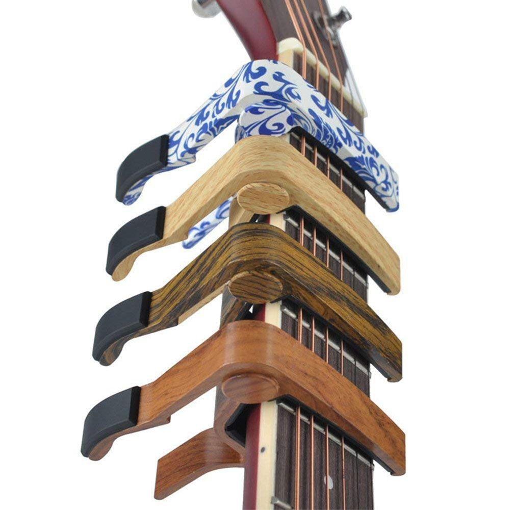 خشبي إنهاء الزنك كابو المشبك المشبك لالغيتار الصوتية القيثارة الكهربائية