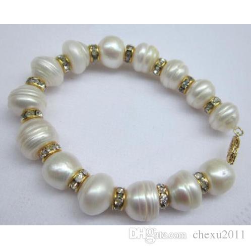 """Bracelete branco natural da pérola do mar do sul 13x12mm 7.5-8 """"fivela amarela do ouro 14K"""