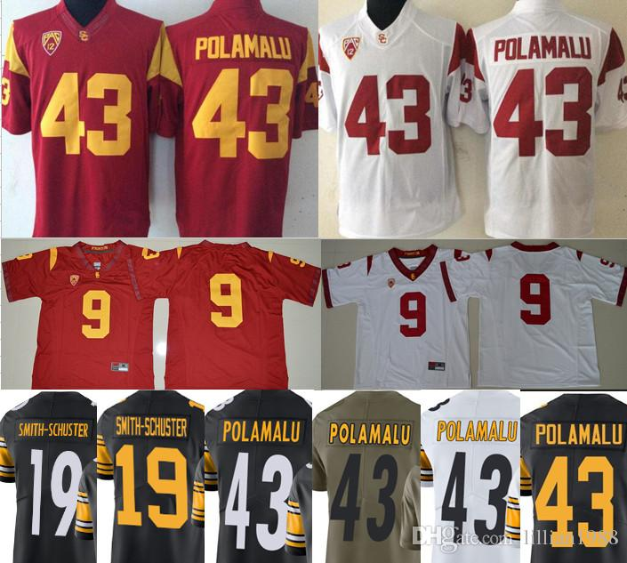 quality design f6ca0 665de 2019 NCAA USC Trojans 19 JuJu Smith Schuster Jersey 43 Troy Polamalu Black  Green White College Football Limited Stitched Jerseys Size S XXXL From ...