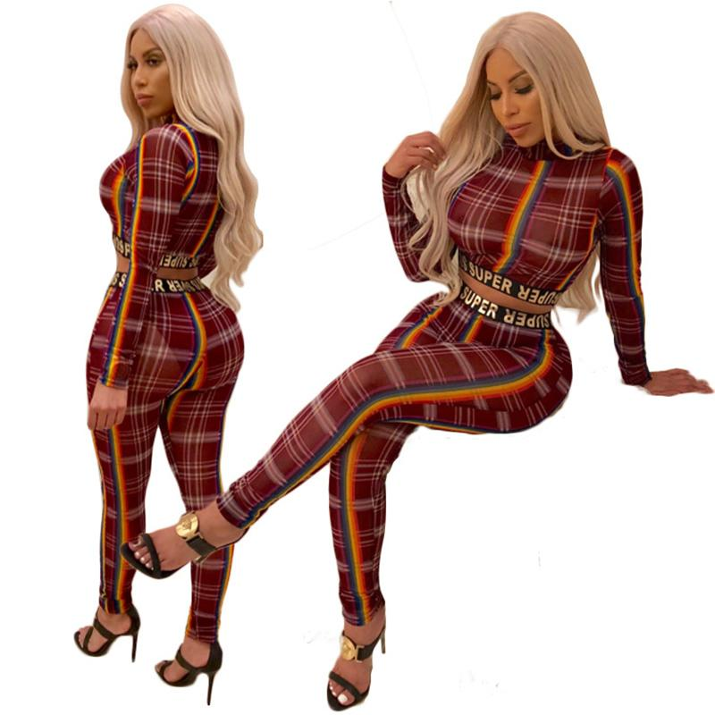 Урожай спортивные женские брюки напечатанные топы два длинные рукава размеров кусок 2021 полосатые брюки повседневные костюмы две костюмы трексуиты Pieces Plus SE DTHM