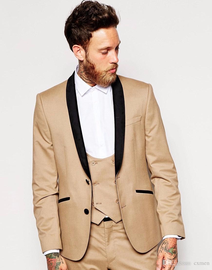 Men Suits Wedding Custom Made Champagne Tuxedo Blazer Best Men Slim Fit Casual Groom Tuxedos Groomsmen Formal Prom 3 Piece Jacket+Pants+Vest