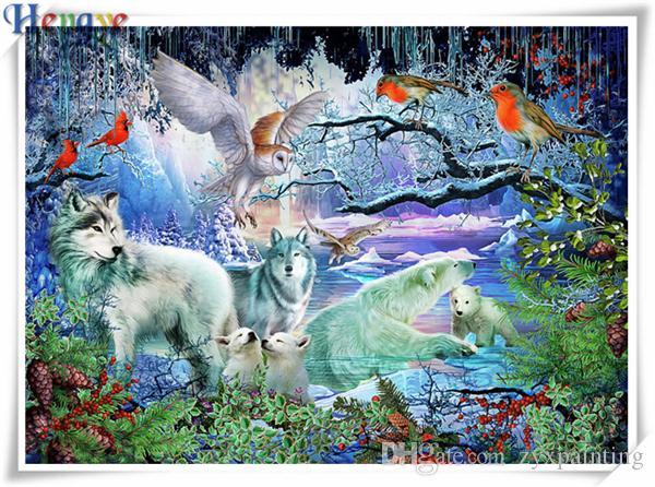 Diy pintura diamante kit ponto cruz strass mosaico home decor presente animal lobo urso da coruja squareround completo diamante 5D bordado AA0514