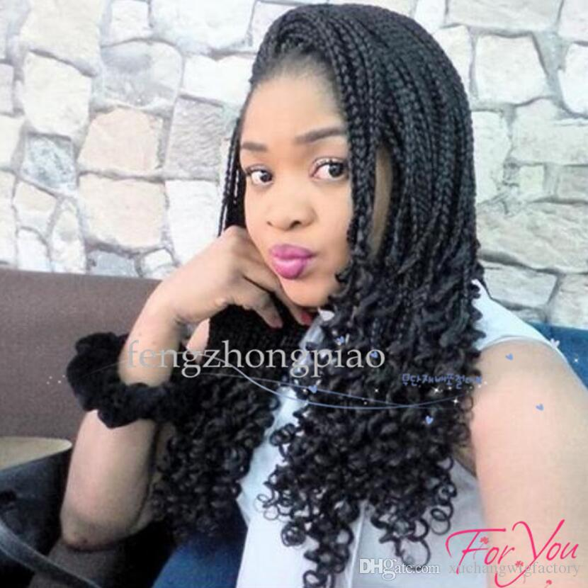 African American Braided Black Wigs Box Braids Synthetic Lace Front Wigs Kanekalon Synthetic Wig Braided Wigs For Black Women Marley Twist