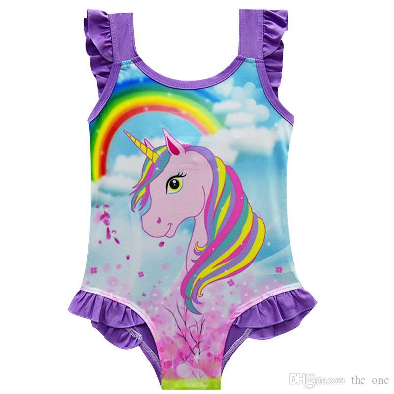 Costume da Bagno per Bambina Rainbow One Piece con Dettaglio Unicorno