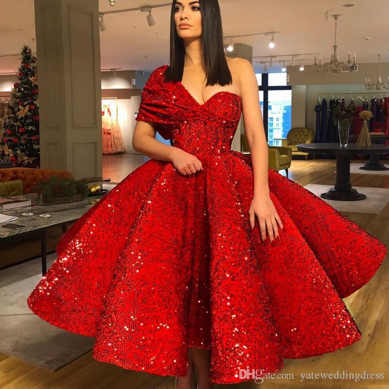2018 Luxury One Shoulder Prom Gowns A-Line Sequined Ruffle Evening Dresses Ankle-Length Custom Made Vestidos De Novia New Style