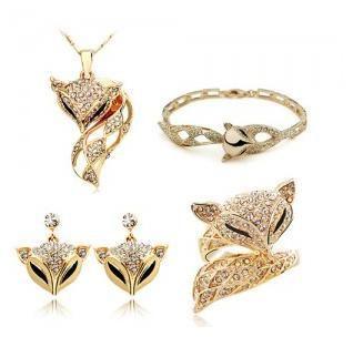 Мода Животных Новая Роскошная Золотая Лиса Комплект Ювелирных Изделий Серьги Кольца Ожерелья Браслеты Ювелирные Наборы