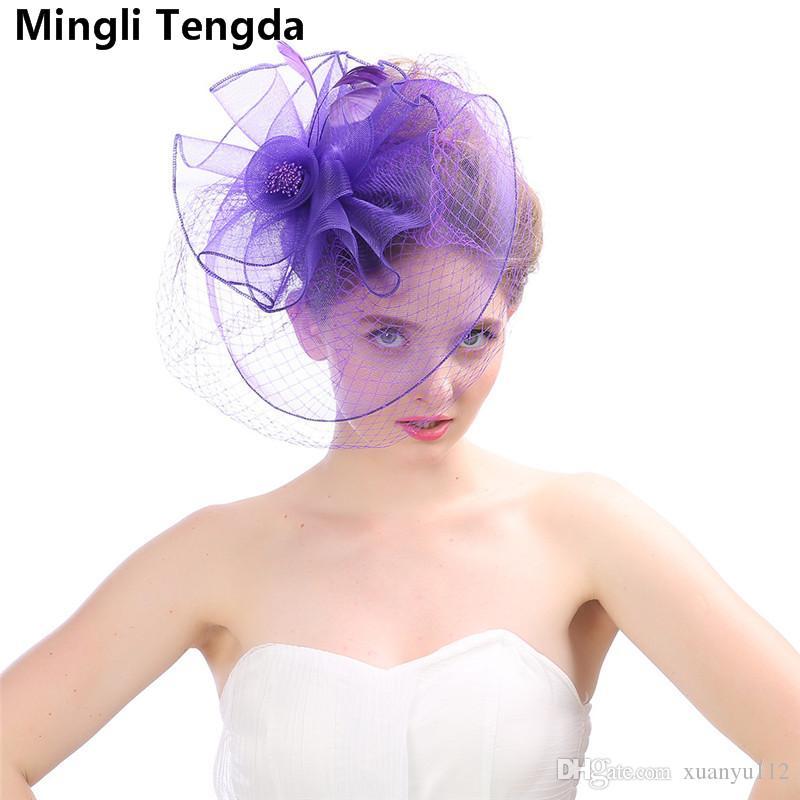 High Quality Linen Feather Ladies Small Hats Net Yarn Wedding Hats for women Elegant chapeau femme mariage chapeu casamento Mingli Tengda