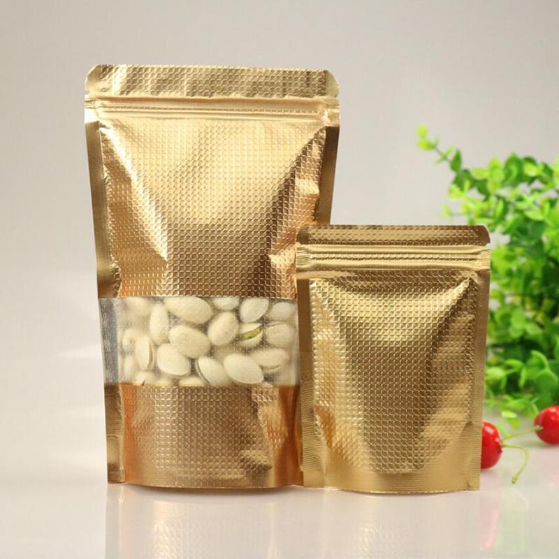 일어나 100PCS 골드 알루미늄 호일은 윈도우와 잠금 가방 지퍼, 식품 차 캔디 쿠키 베이킹을위한 금속 플라스틱 포장 파우치