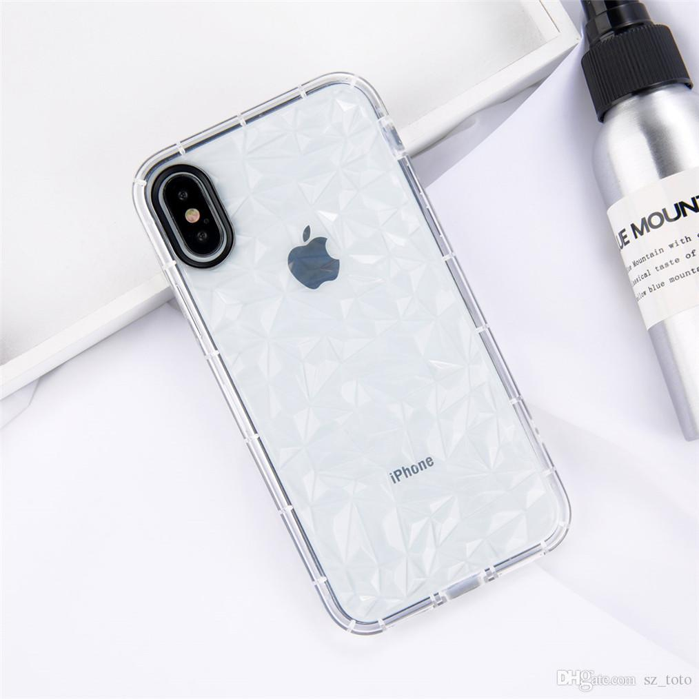 YunRT Transparent TPU Silicone Case For iPhone 7 8 Plus 3D Diamond Clear Back Cover For iPhone X 7 6 6S Plus Phone Cases Coque