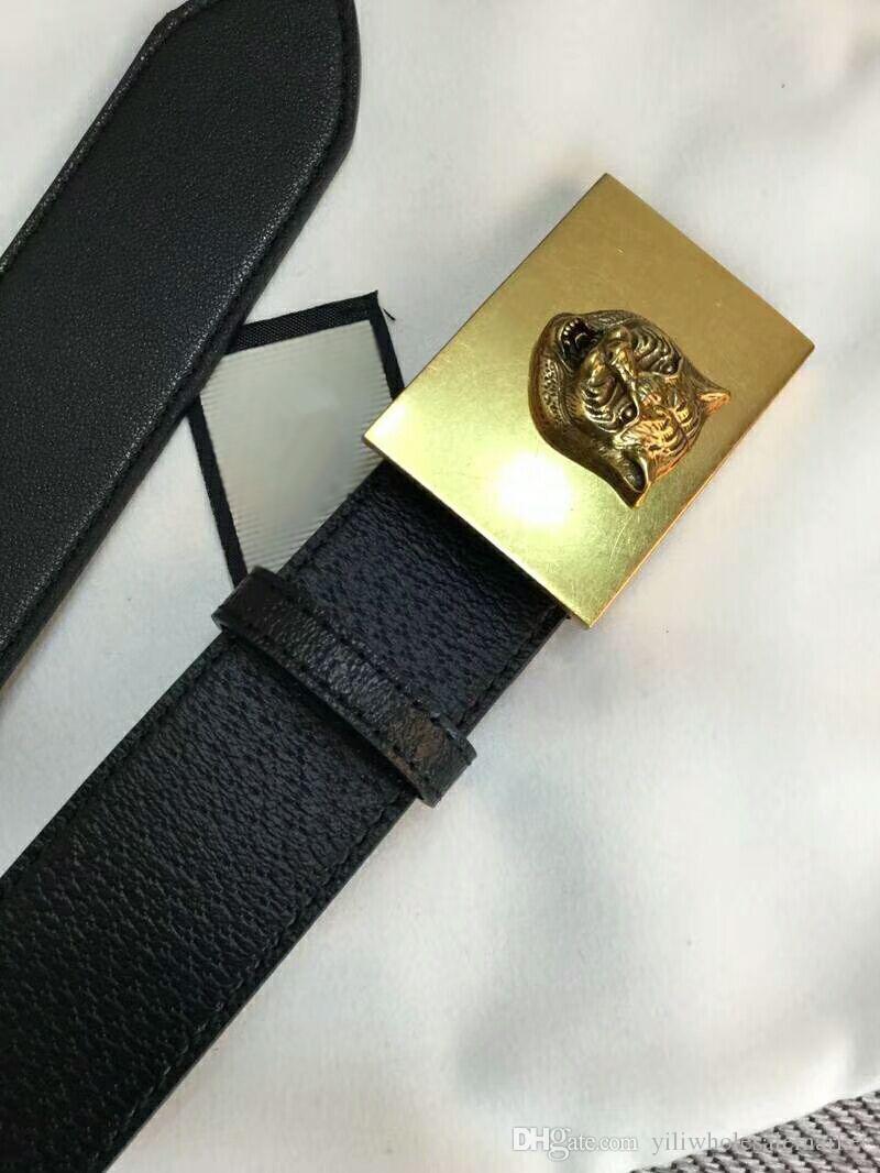 2018 Nuovo stile in stile europeo in oro piccola fibbia quadrata Modello di testa di tigre fibbia della cintura da uomo Designer cinture larghezza 3,8 cm con scatola