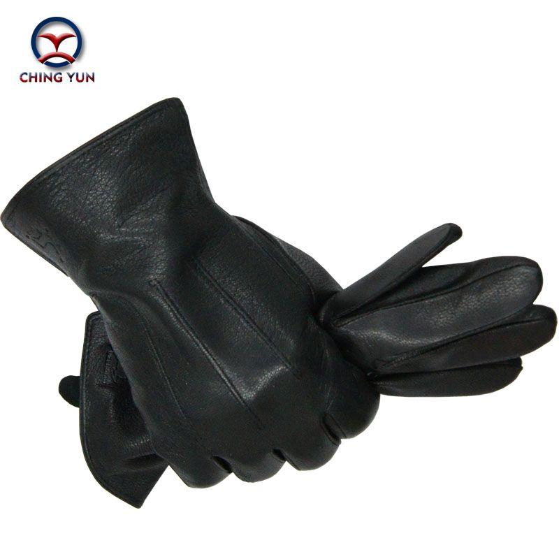2016 New Winter man deer skin leather gloves male warm soft men's glove black three lines design men mittens sheep hair lining