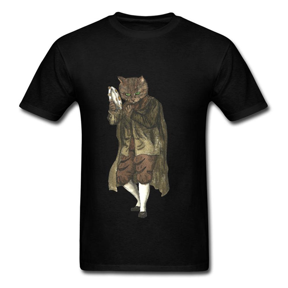 Dancing Cat Plays Tambourine Novità 2018 Vintage Retro Cartoon Design Black Tee Shirt manica corta da uomo T-shirt