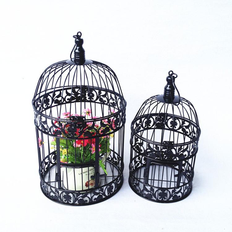 Spedizione gratuita Europeo in ferro battuto nero decorazione di nozze gabbia per uccelli cesto di fiori cesto di arredamento gabbia di appendere gabbia