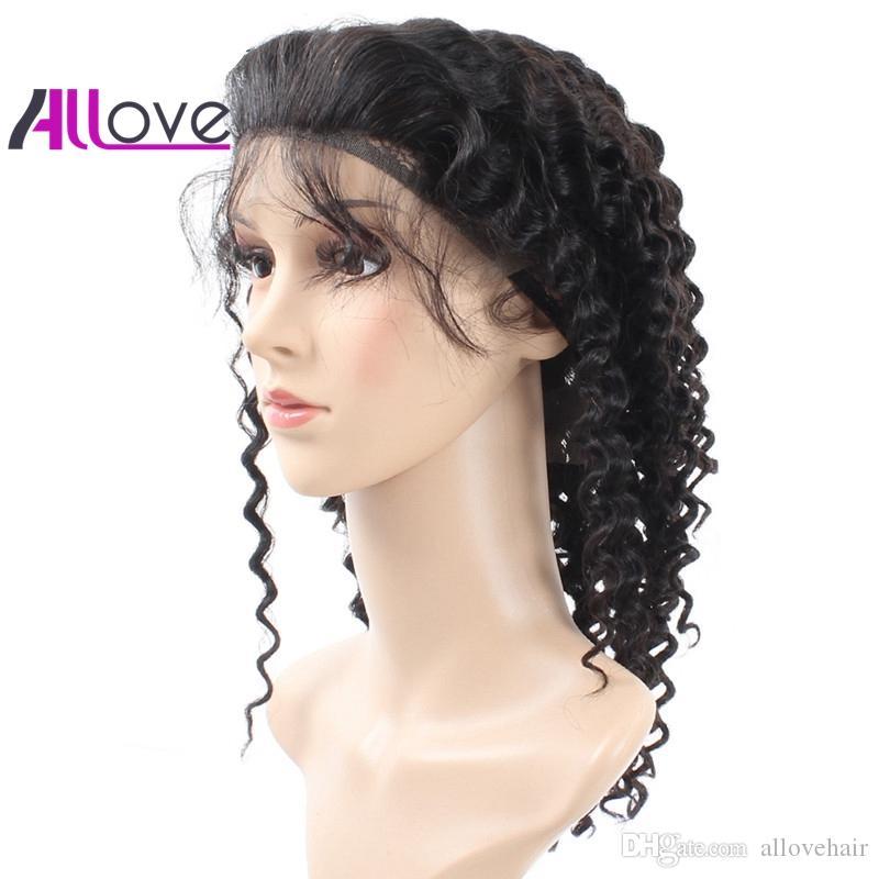 Mejor 10a Brasileño Hair Hair Hair Lace Frente Pelucas Frentes de la Ola Profunda 180 Densidad al por mayor Pelucas para el cabello humano para las mujeres negras Venta caliente