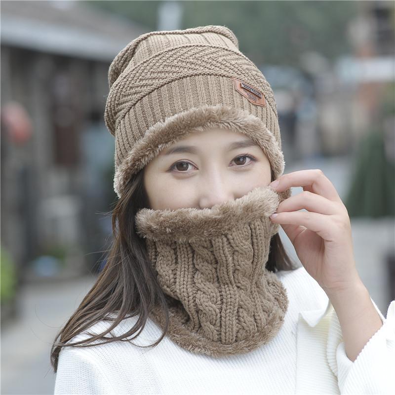 Sombrero de lana de invierno para mujer Sombrero de lana de invierno para mujer Sombrero de moda Pasamontañas de dos piezas de hombres al por mayor