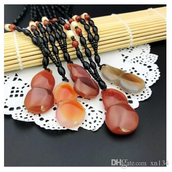 Pendentif agate rouge naturel exquis du Brésil, pendentif collier en jade blanc, chaîne de chandail, accessoires de mode pour dames - hai aléatoire