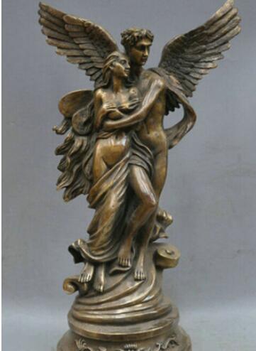 """19"""" Bronze Body Art LOVE Heaven Nude Men And Women Sculpture Statue"""