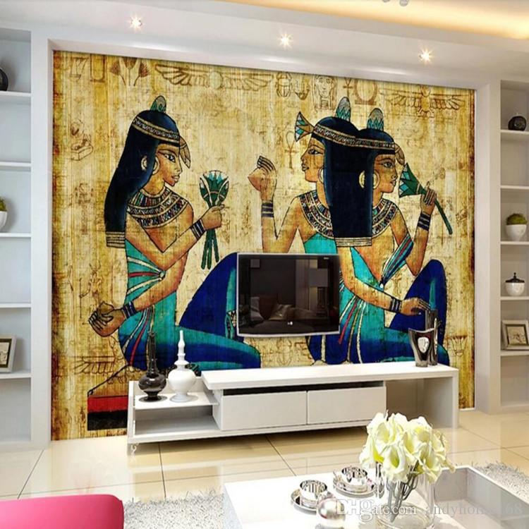 Arkadi 3D personality retro Egyptian style large fresco wall coverings living room bedroom restaurant hotel background wallpaper