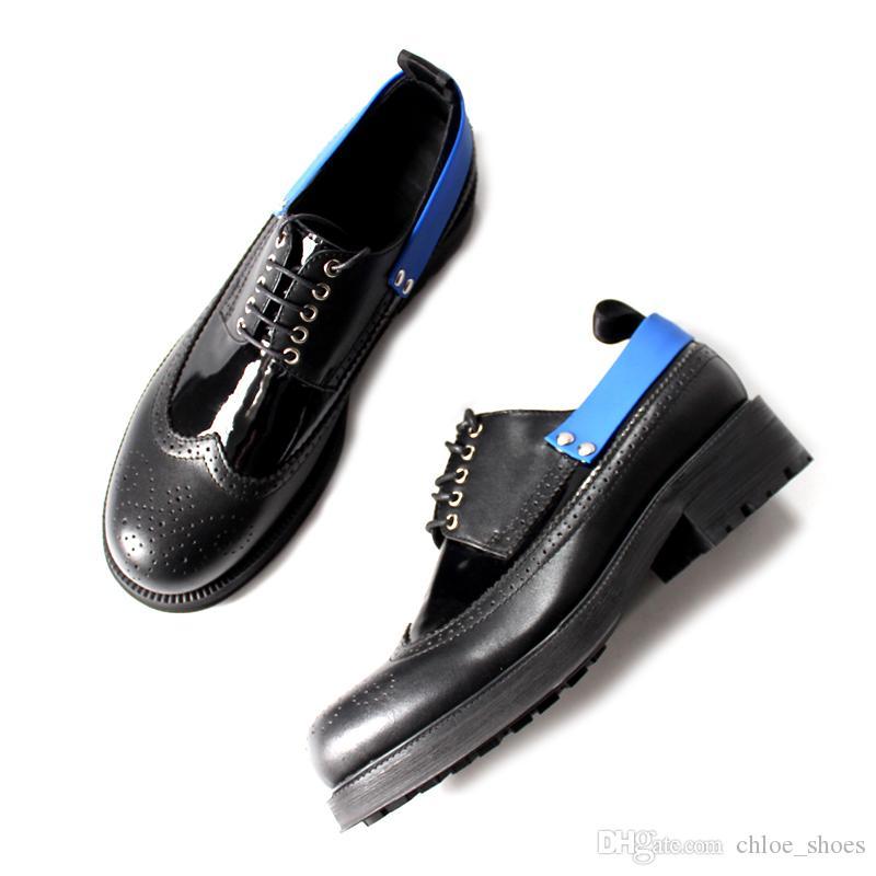 Handmade Grosso Salto Preto Derby Sapatos Preto Vaca Couro Homens Formal Negócios Sapatos Masculinos Vestido de Casamento com Caixa