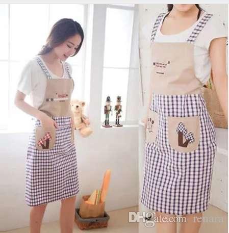 한국 스타일 격자 민소매 더블 어깨 벨트 형 가정용 앞치마 귀여운 패션 오일 앞치마
