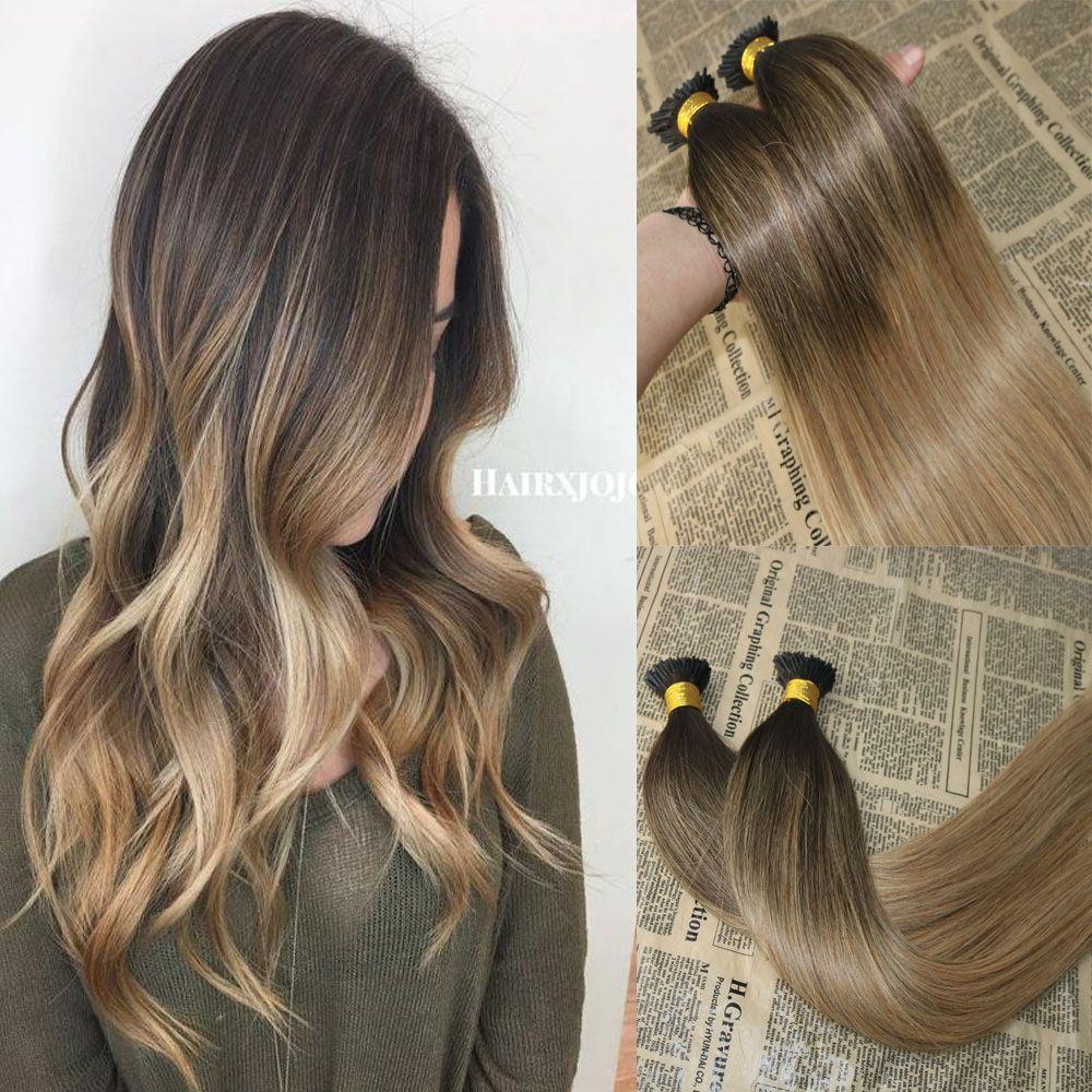 Balayage cabelo humano eu ponta extensões omber # 2 desbotamento para # 12 eu dip fusion prebunded extensões de cabelo stick keratin eu ponta de cabelo 100g