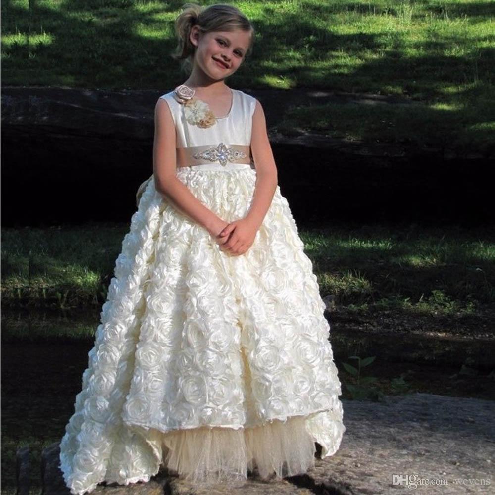 Красивая линия слоновой кости девушки цветка платье для свадьбы O-образным вырезом ленты створки асимметричный подол малыш театрализованное платье Принцесса выпускного вечера носить