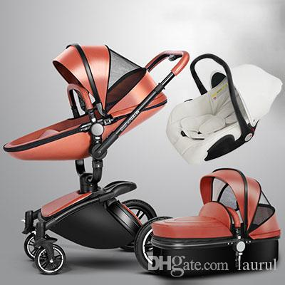 Baby strollers 3 in 1 leather baby pram AULON Europe baby car seat basket leather bassinet Golden frame Gifts