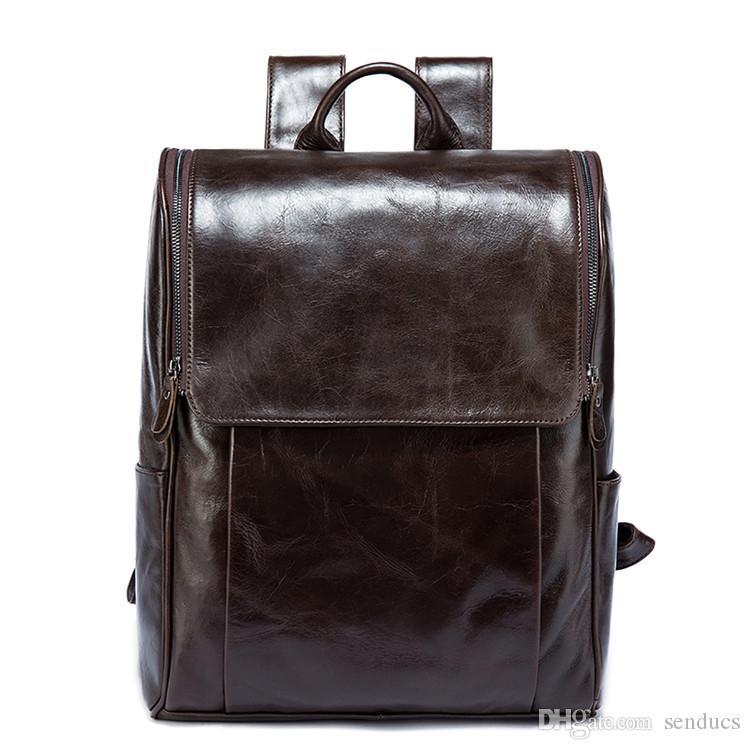 Men Vintage Genuine Leather Backpack Shoulder Messenger Travel Tore Bag Rucksack
