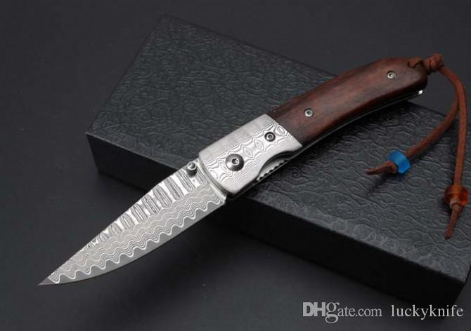 Thomas damascus knife damascus steel blade outdoor camping Pocket collection knives gift Xmas EDC Tools free shipping