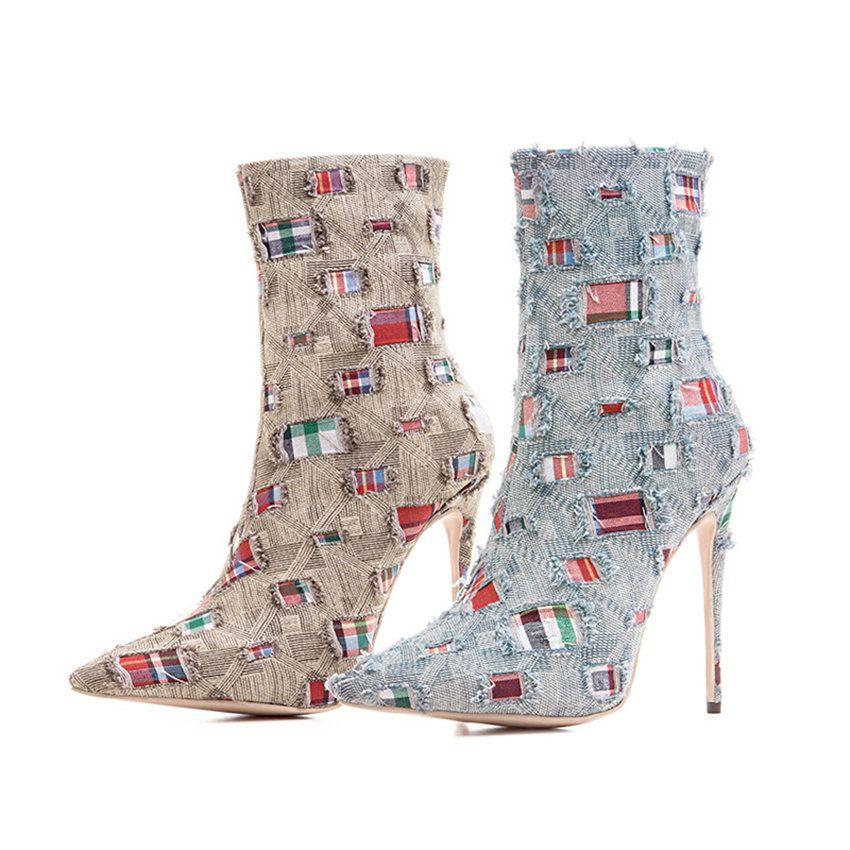 Высокое Качество Женская Мода Стилет Каблук Обувь Мода Роскошный Дизайнер Женская Обувь Суперзвезды Сапоги Сексуальные Полусапоги Женщины Платье Обувь