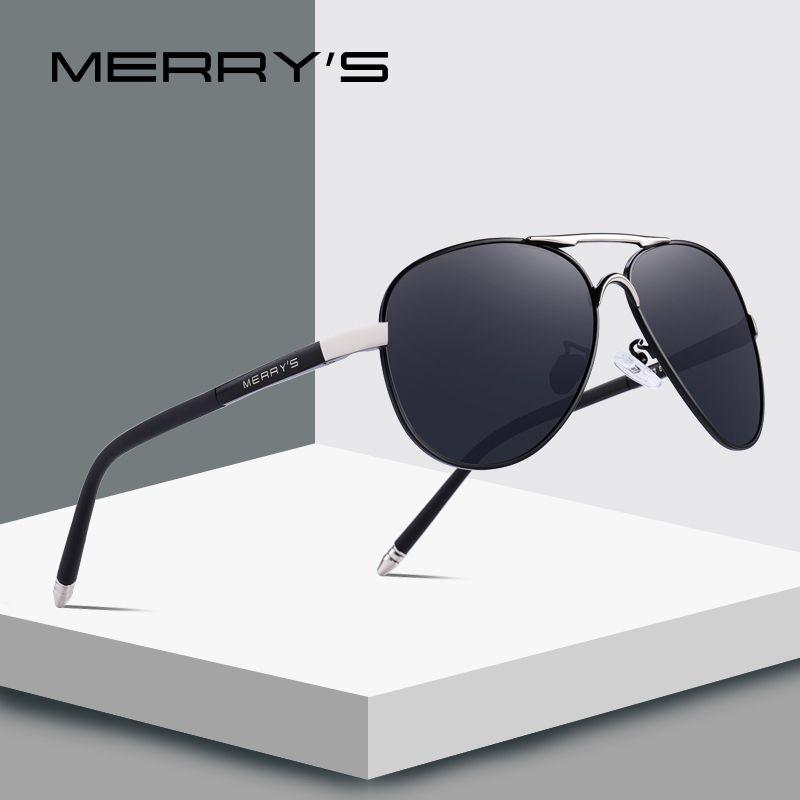 MERRY'S Men Classic Pilot Sunglasses HD Polarized Aluminium Occhiali da sole Luxury Tonalità UV400 S'8513