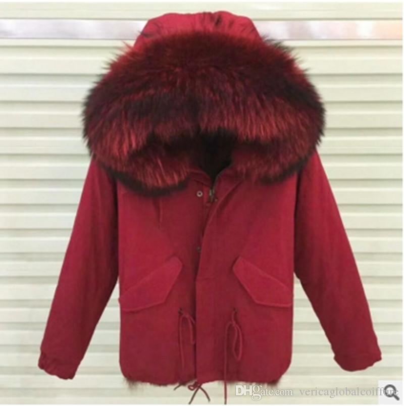 Meifng - S-4XL europeu e americano gordo irmã pique casaco vermelho. Casaco de algodão pele de raposa gola de pele grande casaco curto