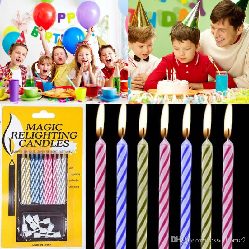 10 PZ / Set Magic Scelighting Candele Divertente Tricky Toy Birth Birthday Eternal Blowing Candele Party Joke Decors per torta di compleanno