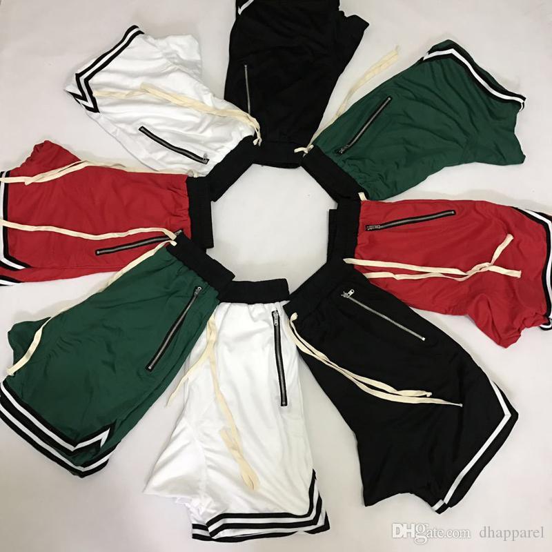 Горячая продажа лето ретро Спорт Дышащие Черный Красный шорты Lover Zipper сетки Streetwear Сыпучие Бич Шорты Брюки Mesh